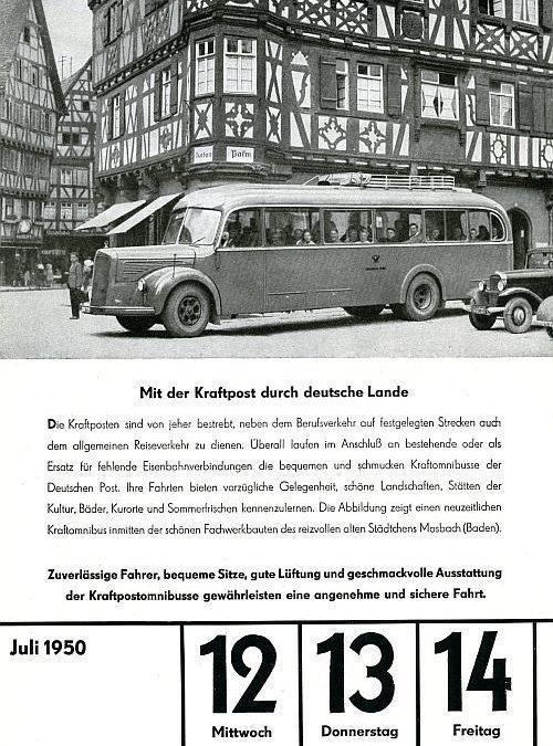 """13. Juli 1950 – """"Mit der Kraftpost durch deutsche Lande"""""""
