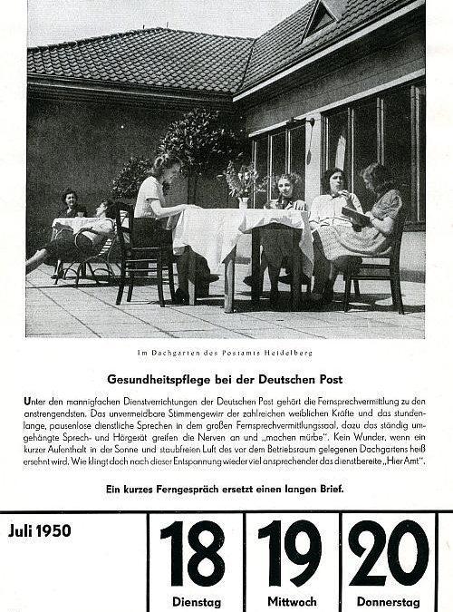 """18. Juli 1950 – """"Gesundheitspflege bei der Deutschen Post"""""""