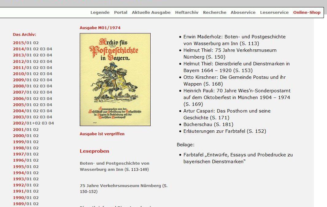 """Das """"Archiv für Postgeschichte in Bayern"""" (Jahrgänge 1925-1974) ist ins Heftarchiv integriert"""