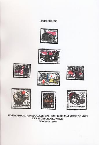 Eine Auswahl von Ganzsachen- und Briefmarkenausgaben der Tschechoslowakei von 1918 -1990
