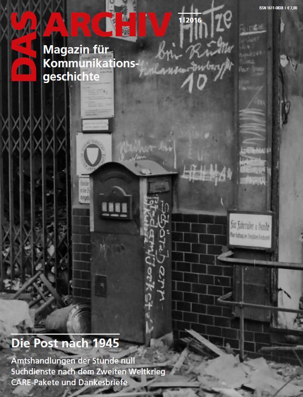 """Cover DAS ARCHIV 2016/01 """"Die Post nach 1945"""""""