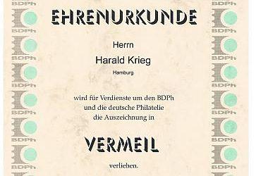 Harald Krieg wird vom Bund Deutscher Philatelisten geehrt