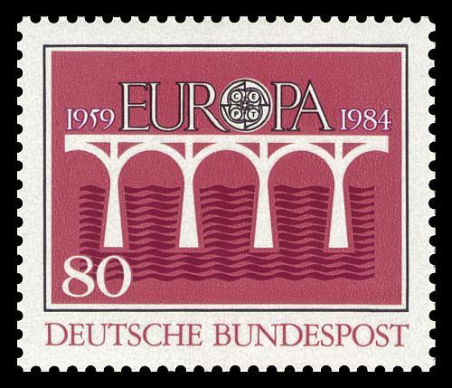 1984 wurde mit den Europa-Marken dem 25-jährigen Bestehen der Europäischen Konferenz der Verwaltungen für das Post- und Fernmeldewesen (CEPT) gedacht