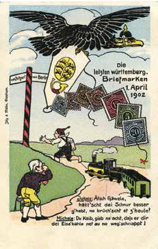 Während sich Württemberg 1902 von den eigenen Marken verabschiedet, verausgabt Bayern weiterhin eigene Marken. Viele Postkarten befassen sich auf humoristische Weise mit dem Thema