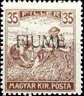 """Ungarische Marken werden Ende 1918 mit """"Fiume"""" überstempelt, um einen autonomen Staat zu suggerieren"""