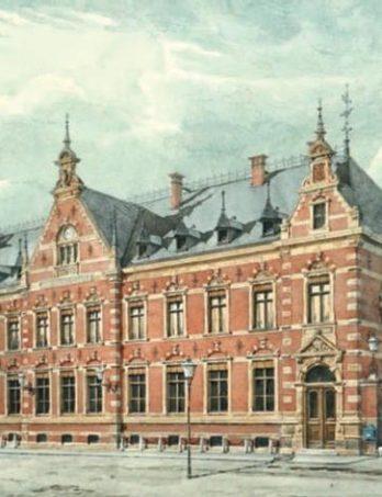 Die Cottbuser Hauptpost. Aquarell von 1891