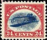 """Der vielleicht bekannteste Briefmarken-Fehldruck der Welt, die """"Inverted Jenny"""" von 1918"""