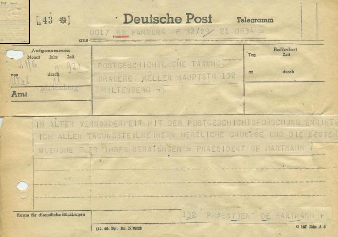 Originales Grußtelegramm, das Dr. Heinrich Hartmann, ehemaliger Präsident der OPD Hamburg, zur Eröffnung der posthistorischen Tagung nach Miltenberg schickte (© DGPT e.V.)
