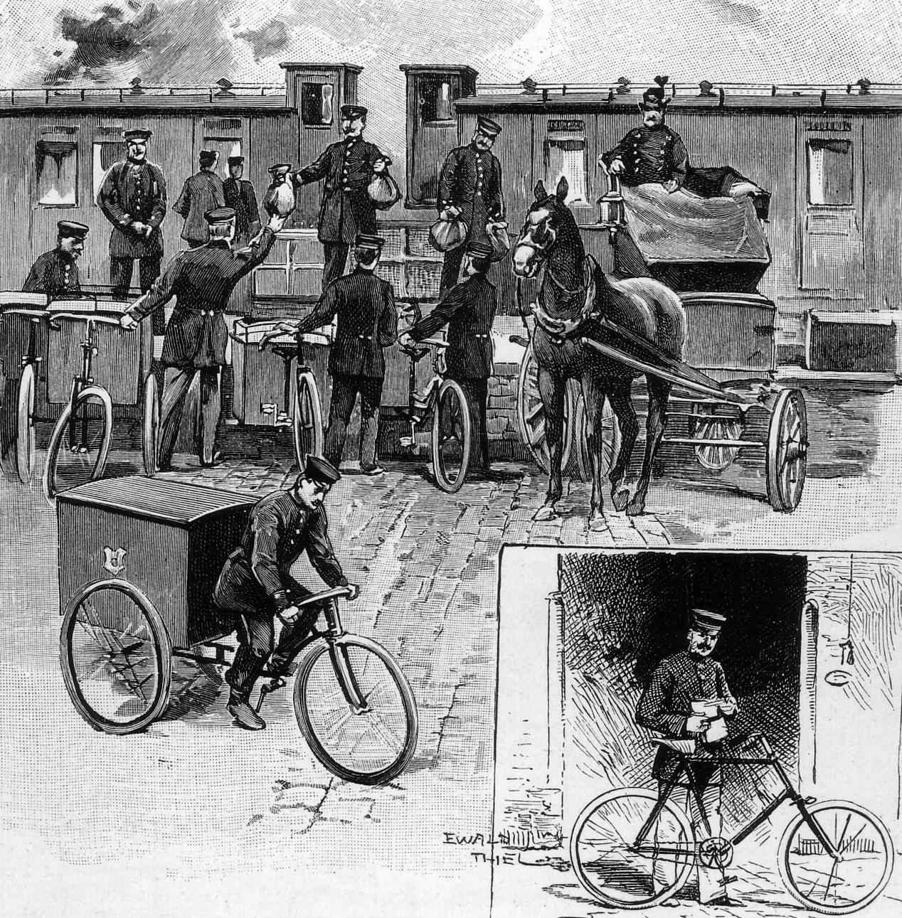 Das Fahrrad im Postdienst nach einer Zeichnung 1897