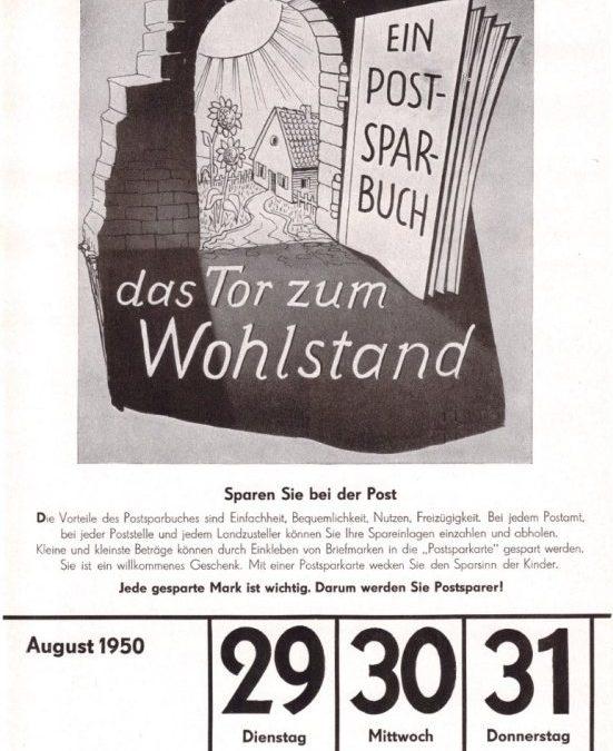 Sparen bei der Post vor 70 Jahren