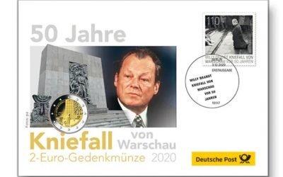 Gedenkmarke: Vor 50 Jahren kniete Willy Brandt am Ehrenmal der Helden des Ghettos in Warschau nieder