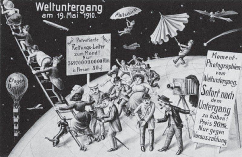 """Postkarte von 1910: Menschen spazieren über den Mond, darüber steht """"Weltuntergang am 19. Mai 1910"""""""